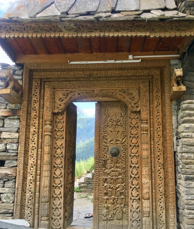 Beautiful door on way to kamru fort for Kamakshi devi Temple, Sangla valley India