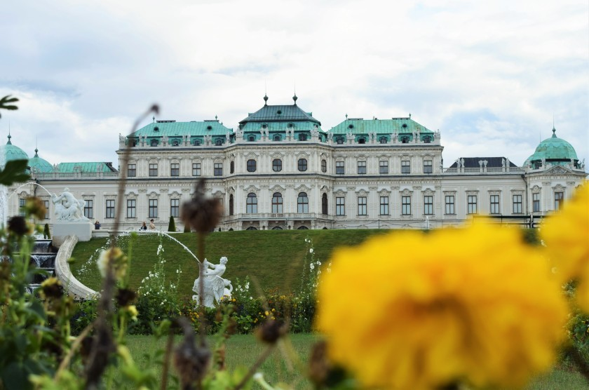 Belvedere Palace in background of Marigold Flower