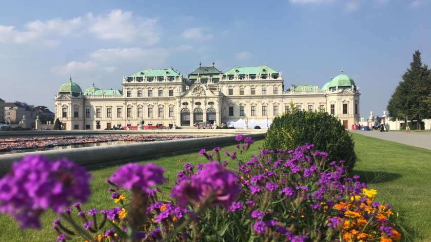 Belvedere Palace with Flowers out of focus